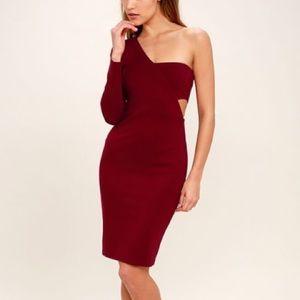 NWT! Lulu's One Night Burgundy Dress Midi WAITLIST